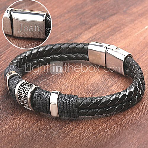 Personalized Gift Men's  Stainless Steel/Leather Bracelets Engraved Jewelry - USD $14.99