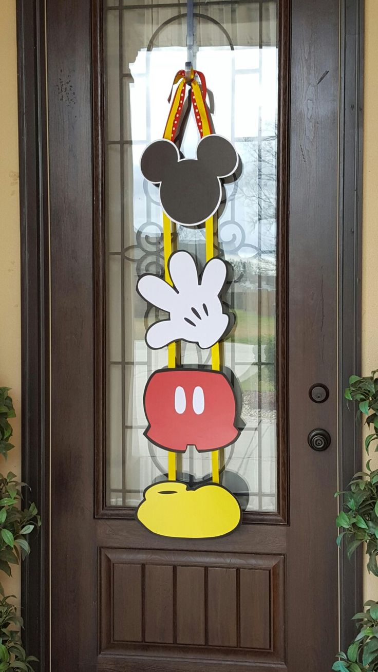 Mickey Mouse Birthday Door Hanger, Mickey Mouse Party Decorations