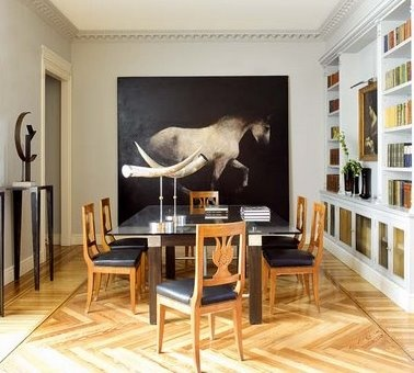 .: Dining Rooms, Hors Paintings, Homes Theater, Horse,  Homes Theatres, Hors Art, Equestrian Chic, Equestrian Decoration, Herringbone Floors
