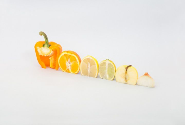 A Colourful Winter by Florent Tanet.  Inspired by a luxury comestibles boutique in the famous Le Bon Marché department store in Paris, Tanet arranged every day fruits and vegetables into graphic patterns, successively sculptures and still lives.