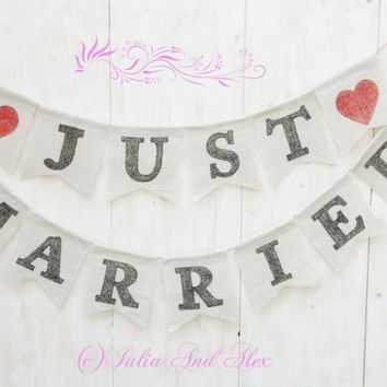 Just Married Banner. Wedding banner, garland, photo props, reception decoration