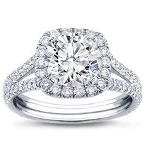 R2988 - Split Shank Halo Setting for Cushion Cut Diamond