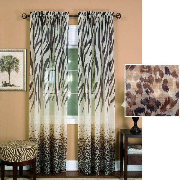 Animal Print Curtains - Zebra Print Sheer Panel. My new curtains!
