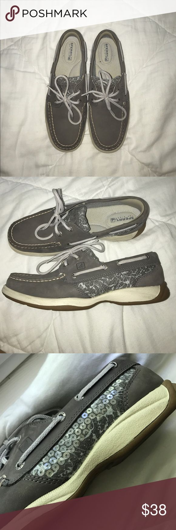 Sperry Top Sider Gray Boat Shoes with Sequins Sperry top sider gray boat shoes with sequin detailing on the side and fabric part on the top!! In great condition!! Only worn once!! Sperry Top-Sider Shoes
