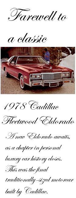 Farewell to a classic: 1978 Cadillac Fleetwood Eldorado Cabriolet Coupe
