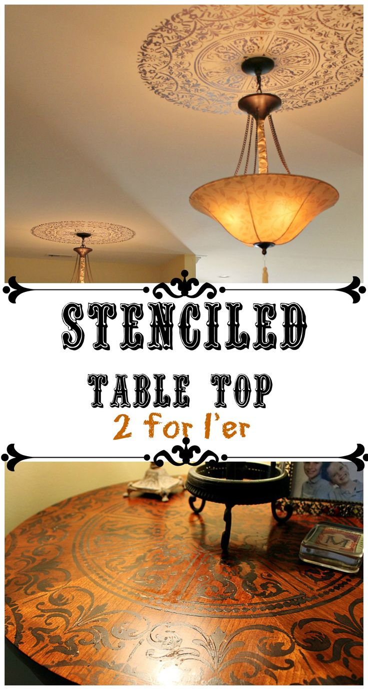 Great way to update an old table! #stenciled table top with a ceiling medallion stencil. Two for one project that looks awesome!
