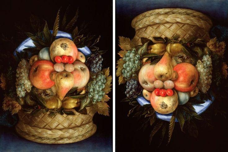 Giuseppe Arcimboldo, Reversible Head with Basket of Fruit, c. 1590, oil on panel - Hidden faces - Wikipedia, the free encyclopedia