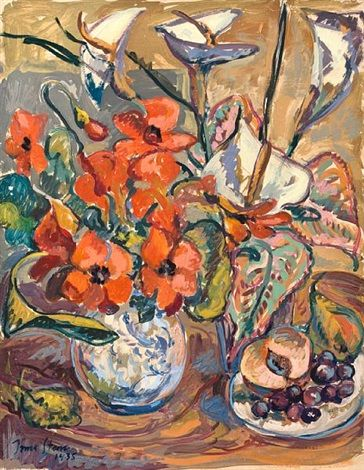 Still life with poppies, calla lilies and fruit by Irma Stern