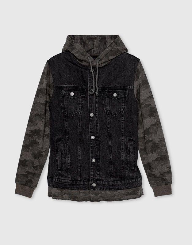 Pull&Bear - homem - vestuário - blusões e blazers - blusão de ganga combinado camuflagem - preto - 09710554-I2016