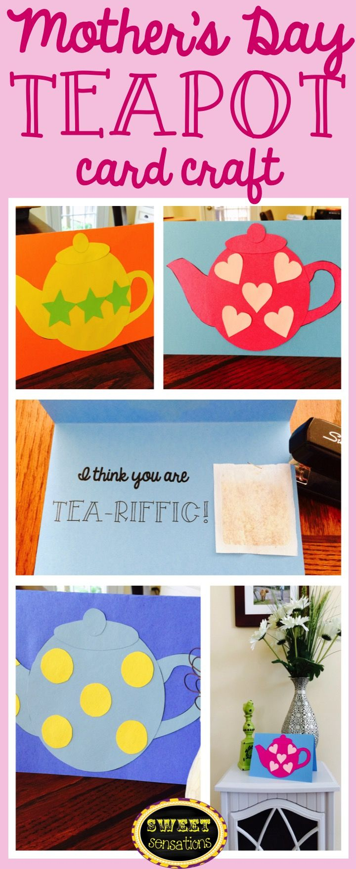 "Mother's Day card activity - kids make a card with a teapot on the front, inside says ""I think you are TEA-RIFFIC"" and space to attach a teabag.  Cute!  $4.00"
