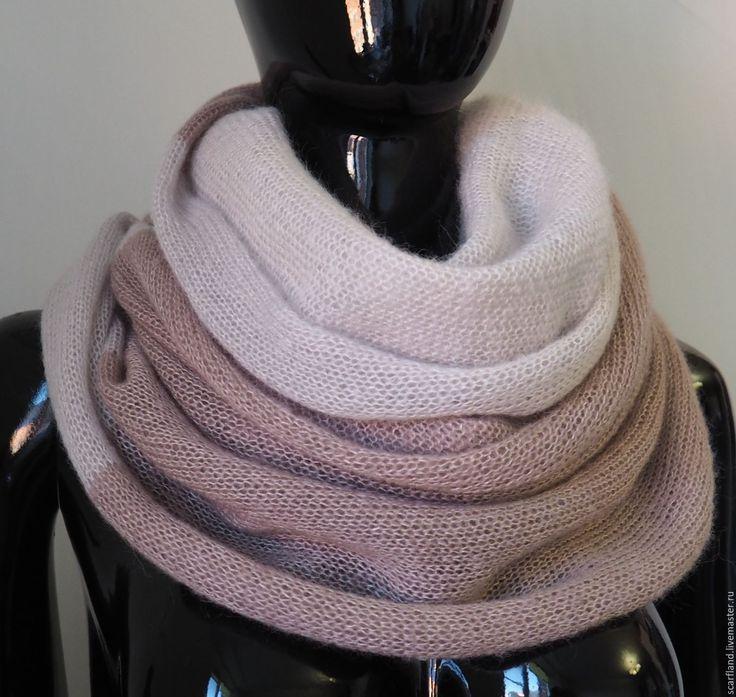 Купить Снуд из кид-мохера на шелке двухцветный - подарок, снуд, снуд-шарф, шарф из мохера