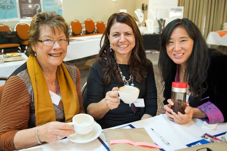 Margaret Wilmink, Me & May King Tsang. Enjoying a chat and a cup of TEA at The Kitchen Table Network Gold Coast May 2013.