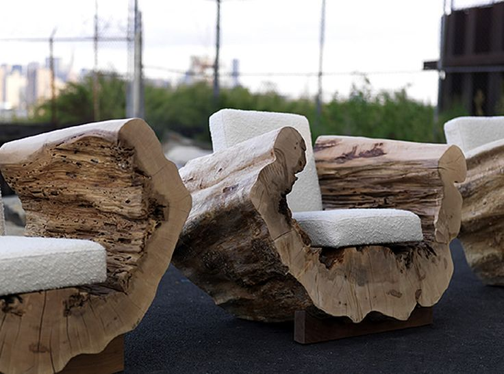 Beautiful Reclaimed Wood Seating Furniture Design Cocoon Chair Andre Joyau Brooklyn  NYC