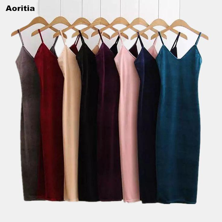 #aliexpress, #fashion, #outfit, #apparel, #shoes #aliexpress, #Women, #Spring, #Brief, #Style, #Velvet, #Dress, #Dress, #Suspender, #Strap, #Piece, #Velvet, #Dress