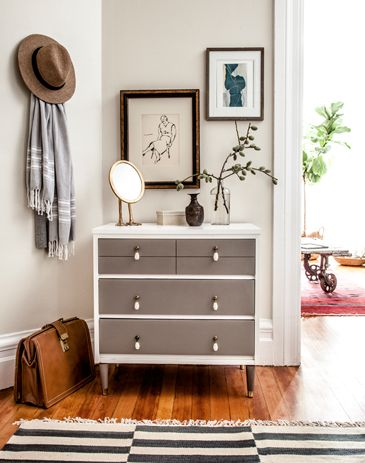 gray chest with floral background - leaf print Lauren Nelson Design - entrances/foyers - entryway vignette, eclectic vignette, mid-century chest of drawers, gray and white chest of drawer...