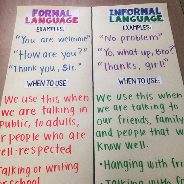 Formal and informal writing?