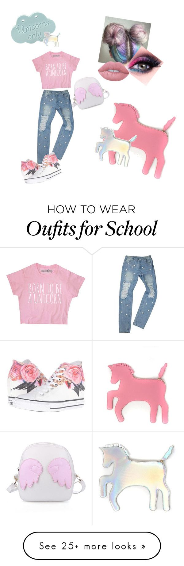 """Unicorn Fun!!!!"" by xxlilylunaxx on Polyvore featuring WithChic, Converse and Lime Crime"