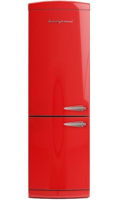 Frigo Bompani Retrò combi full no frost rosso BOCB698/R apertura sinistra #Bompani #architettura #design #arredamento #retrò #MadeInItaly #frigoriferi #Fridge #ItalianCulture #ItalianCuisine #red #rosso