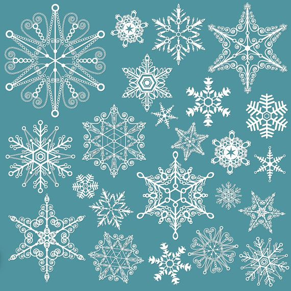 Black & White Snowflakes  Clip Art Set  24 Printable by DIYgital