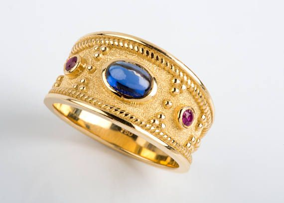Mens Gold Ring Sapphire Mens Ring Man Gemstone Ring