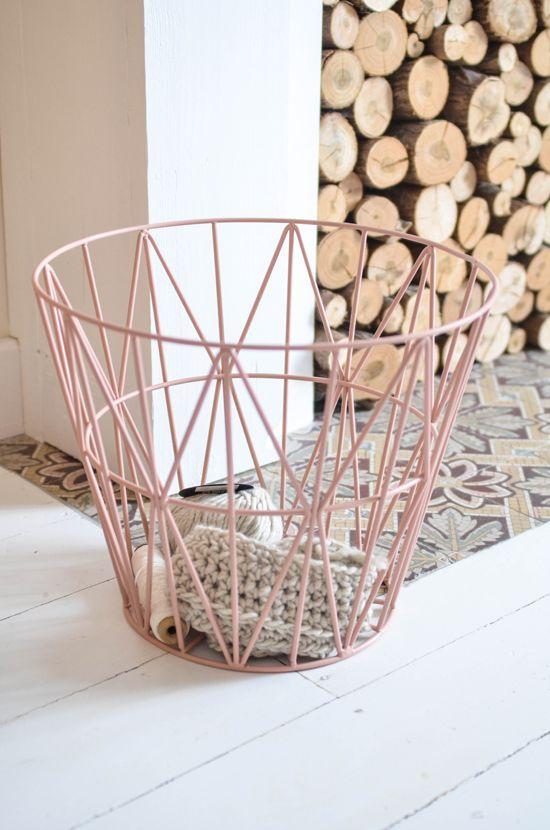 Pink metal basket Ferm Living