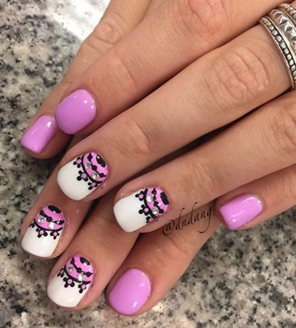Another Purple nail art design with embellishments. In order to make your Purple nail art design stand out you can add beads or sequins of your liking.