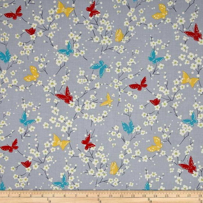 Michael Miller Sea Holly Butterfly Blossoms Gray from @fabricdotcom  Designed by Sarah Campbelll for Michael Miller, this cotton print fabric is perfect for quilting, apparel and home decor accents. Colors include grey, cream, green, teal, yellow and red.