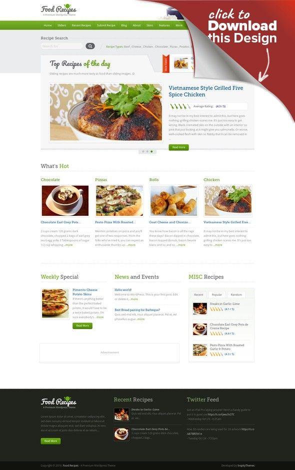 Food Recipes WordPress Theme WordPress Theme Recipes Blog Themes WordPress