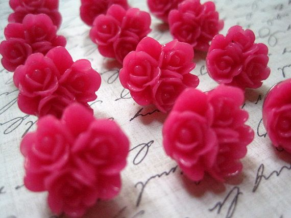 Pink Push Pins... 12 pc Flower Thumb Tacks, Cute Thumbtack Set, Fun Office Supply, Housewarming Gifts, Hostess Gifts, Wedding Favors on Etsy, $8.00