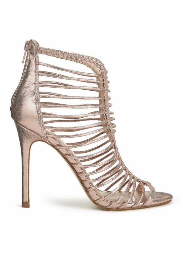 Miss Selfridge Ladies Rose Gold Caged Heel Women's Sandal Shoes UK Size 5 #MissSelfridge #Sandals
