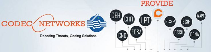 Codec Network Provide Cyber Security Training & IT Training like CEH , CHFI , CND , ECSA , LPT , ECSP , CSCU, Python , CCNA , ECIH , WAPT & more IT Training's in Delhi , India .It is also Provide Best Online Cyber Security & IT training & clarifications.