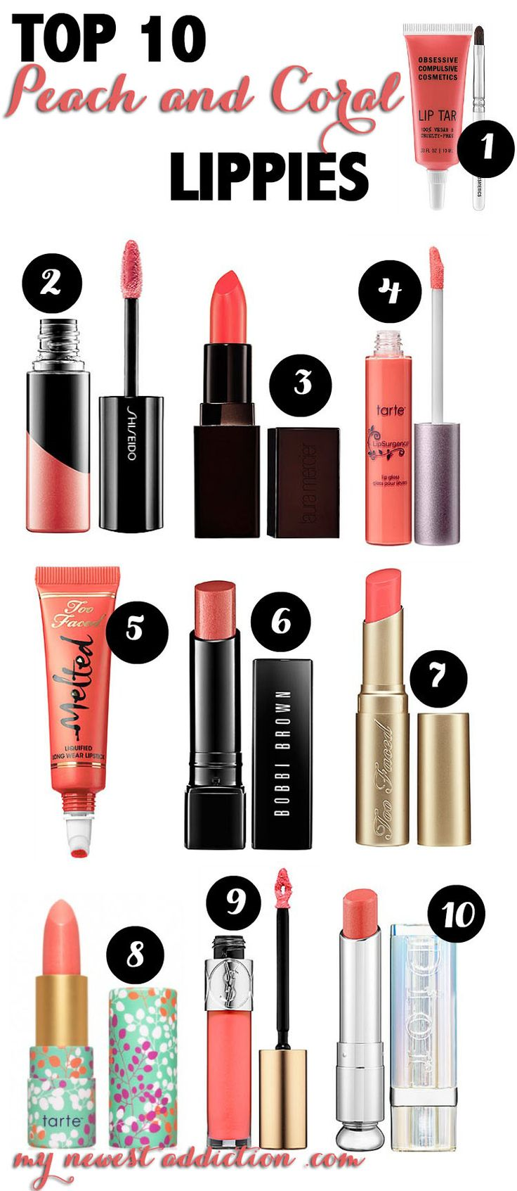 Top 10 Peach and Coral Lippies - My Newest Addiction Beauty Blog