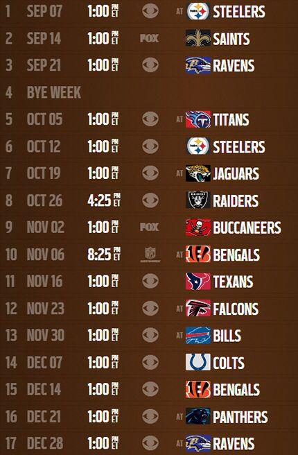 Cleveland Browns 2014 schedule