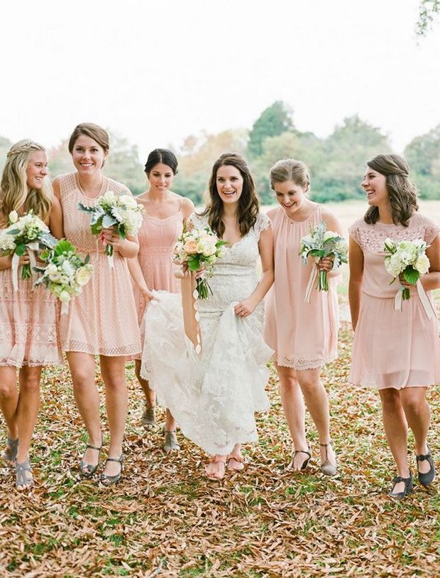 dusty pink short mix and match bridesmaid dresses styles