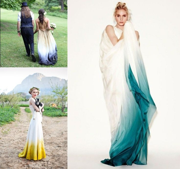 Hint of Color or Dip Dye Bridal Dress  - 22 Most Unique Non Traditional Wedding Dresses - EverAfterGuide