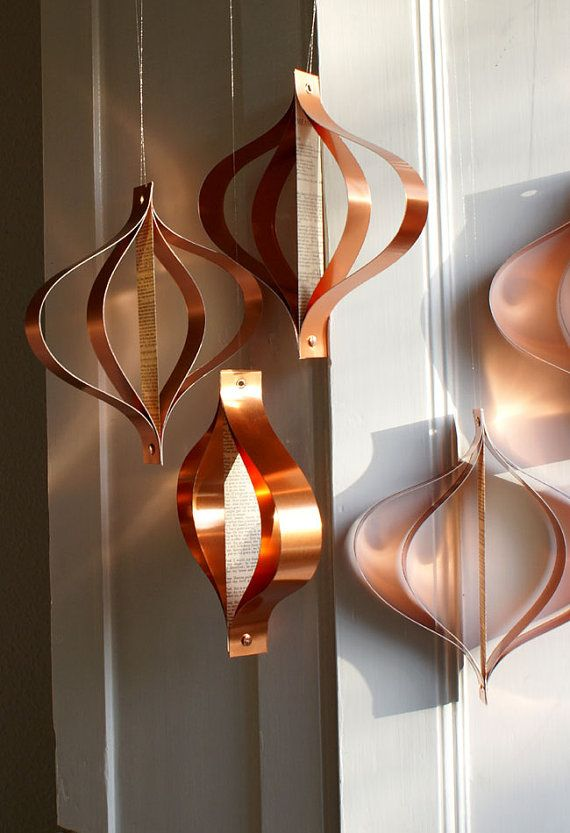 Hanging ornaments Holiday decor mid century modern by Bookity, $25.00