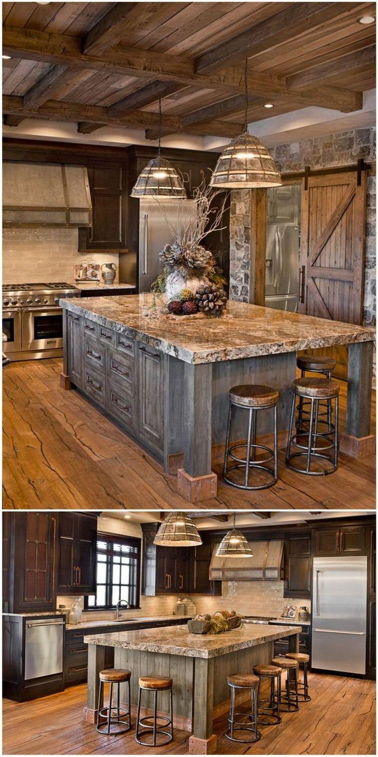 90+ Beautiful Farmhouse Style Rustic Kitchen Cabinet ... on Farmhouse Rustic Kitchen Ideas  id=48155