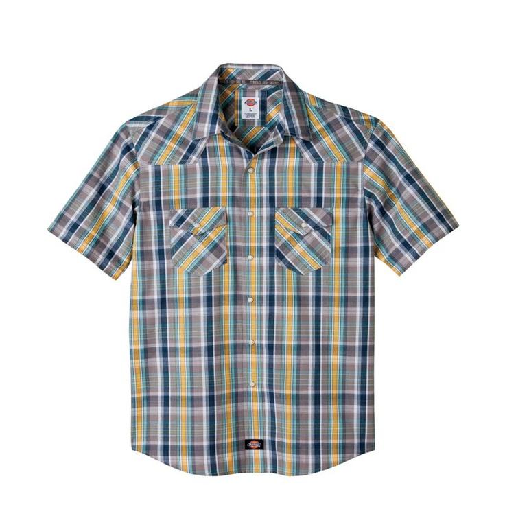 Dickies short sleeve plaid western snap front shirt pearl for Dickies short sleeve plaid shirt