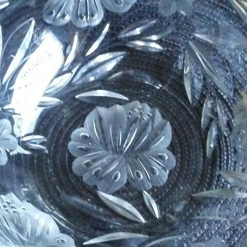 Found this beauty. Vintage Crystal Glass Serving bowl. The etched flower design is stunning.
