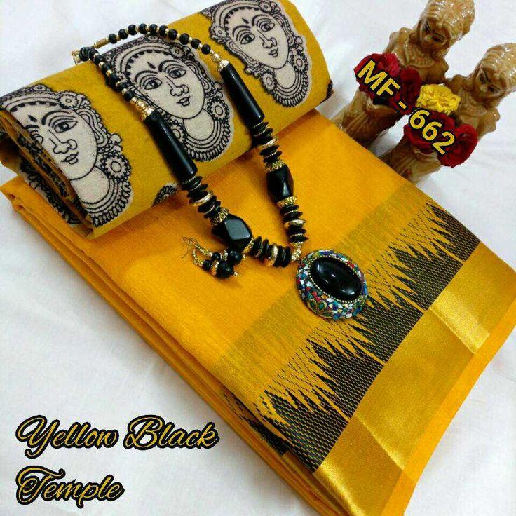 Butter silk with black border with kalamkari blouse