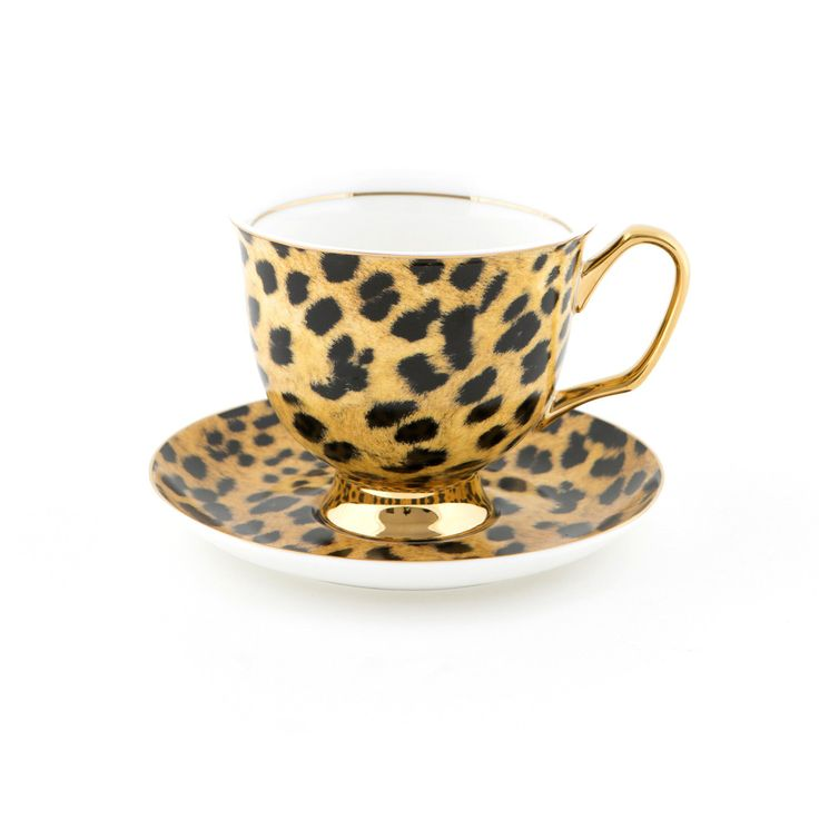 #Leopard #XL #Teacup and #Saucer #Set | The #bigger teacup you have always wanted! Get yours today at #lyndalt.com