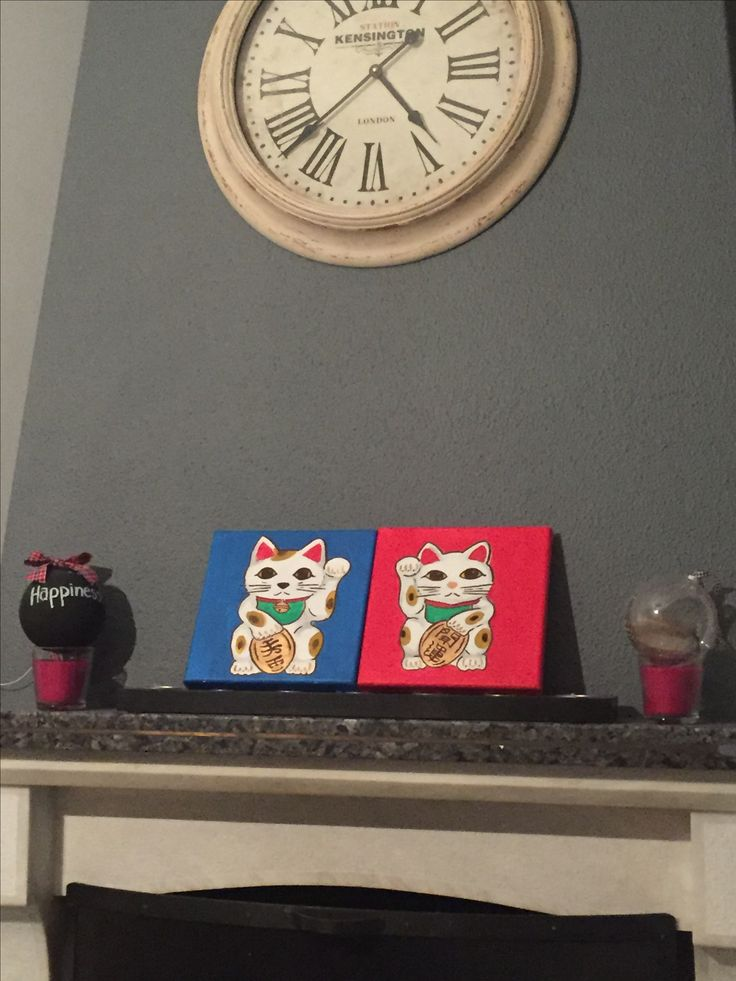 """Mini canvas art , fortune cats , """" maneki neko """" canvas size 20x20cm"""