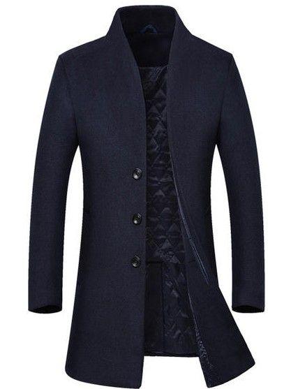 Пальто узкое синее мужское в интернет-магазине Шопоголик
