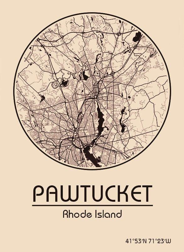 Karte / Map ~ Pawtucket, Rhode Island - Vereinigte Staaten von Amerika / United States of America / USA