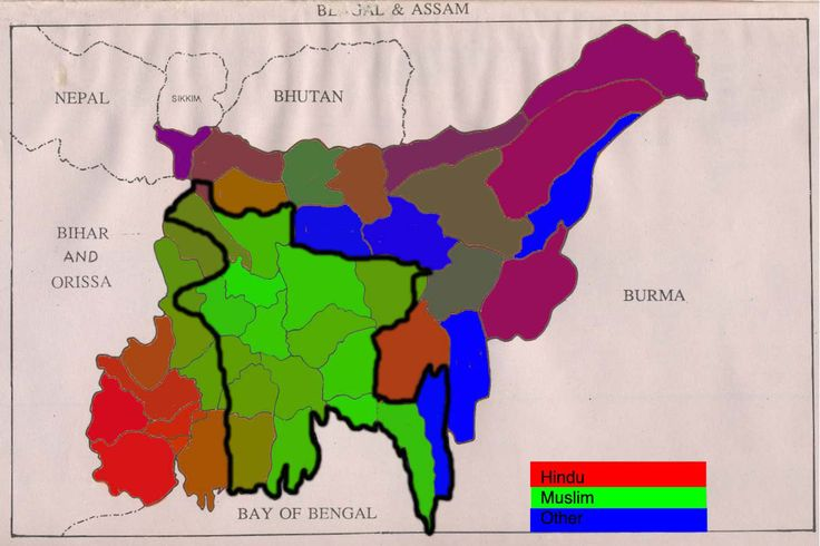 Religion in British India Bengal & Assam in 1941, with Partition Line