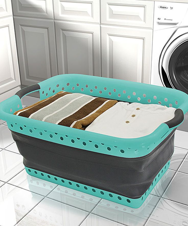 Another great find on #zulily! White & Teal Collapsible Laundry Basket by Vanderbilt Home #zulilyfinds