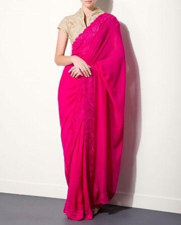 Fuchsia Sari with Beige Blouse - Saris - Apparel