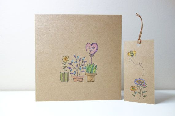 Personalized Flower Thank You Card. Hand Drawn by NariDesignPot, $4.90