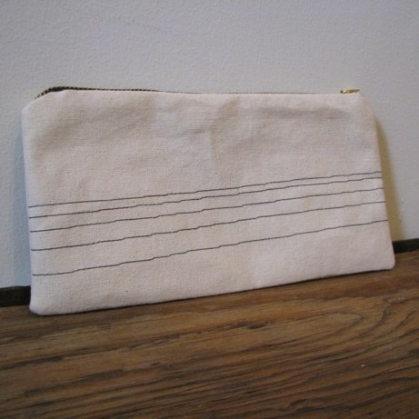 canvas pencil case with stitch lines