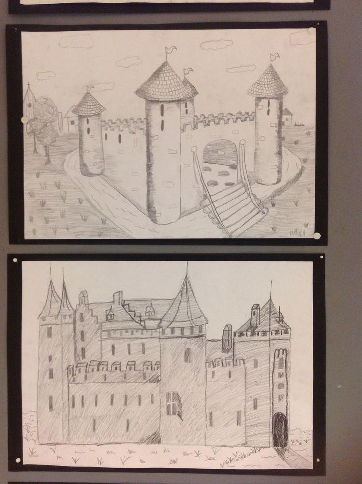 Keskiajan linnat lyijykynätyönä